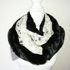 Lace & Plush Faux Fur Double Sided Infinity Scarf